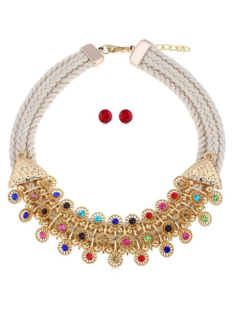 Affordable Bohemian Style Rhinestoned Woven Jewelry Set