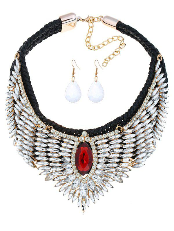 Fashion Polychrome Rhinestone Woven Jewelry Set