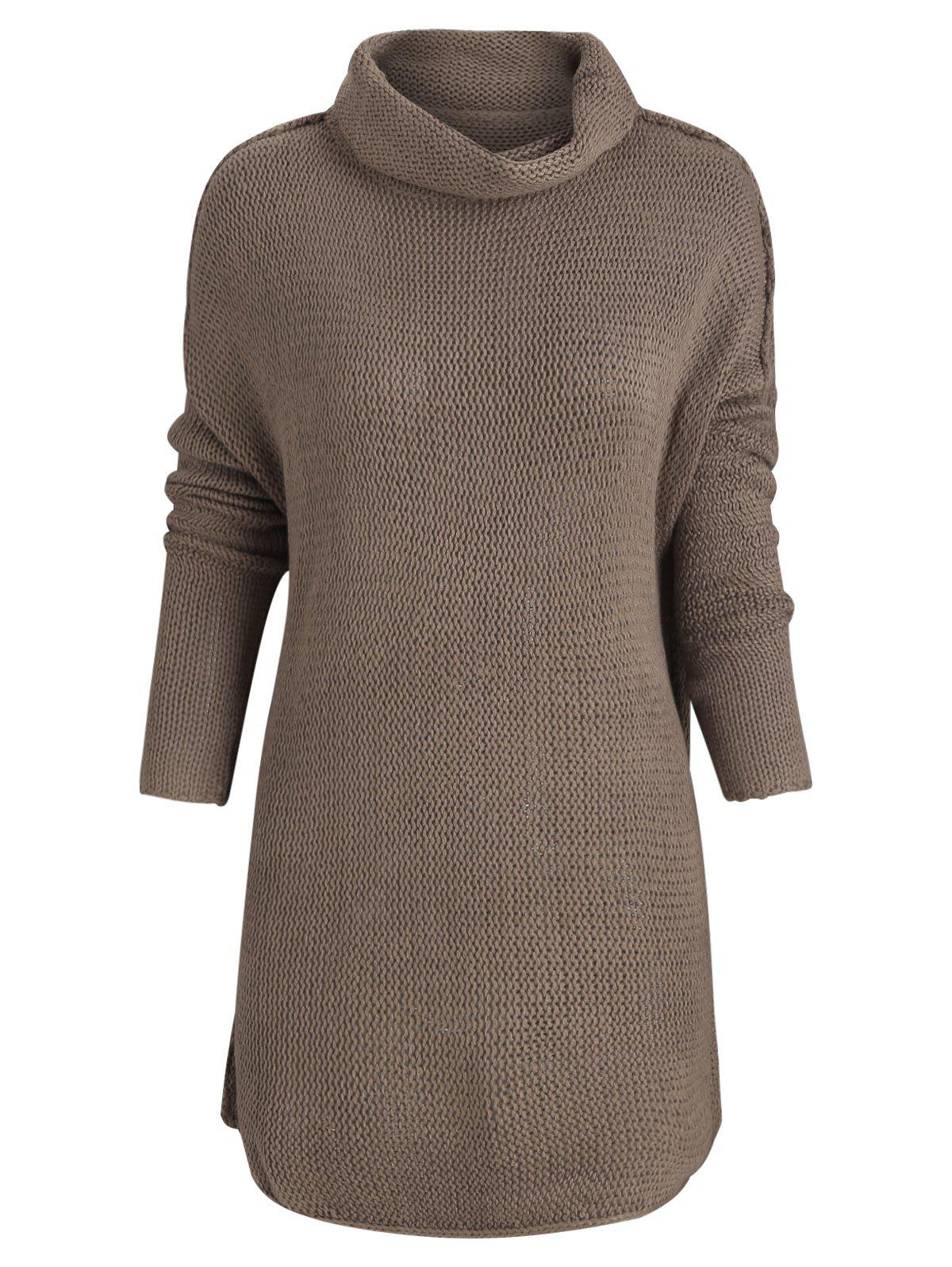 Chic Turtleneck Drop Shoulder Tunic Sweater