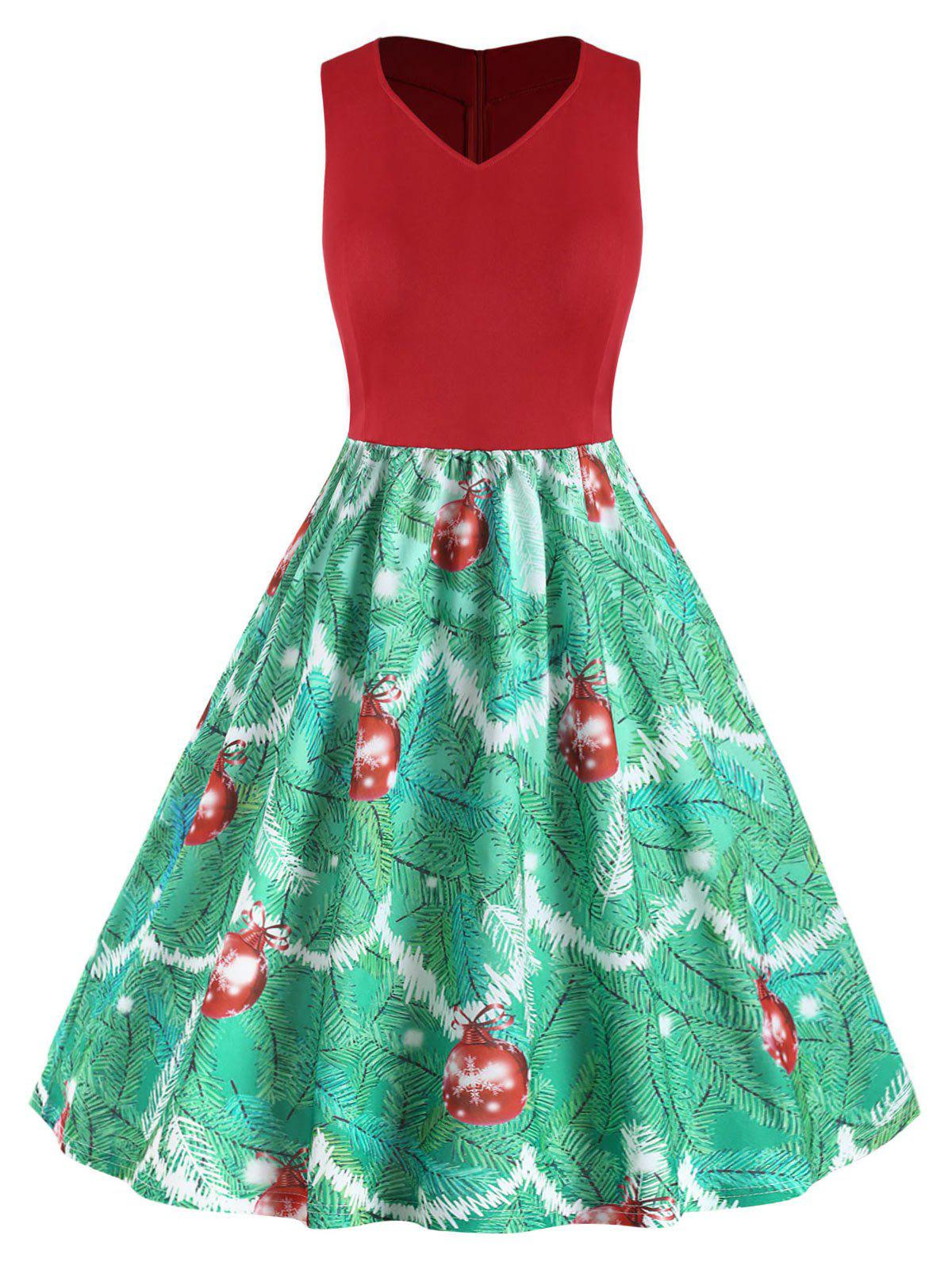 Fashion Plus Size Vintage Christmas High Waisted Printed Dress