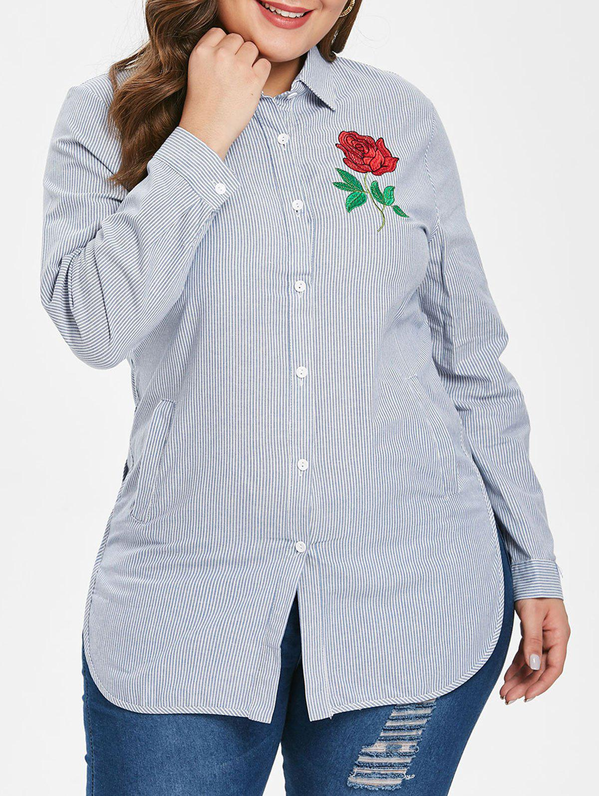 Outfit Plus Size Stripes Shirt with Floral Embroidery