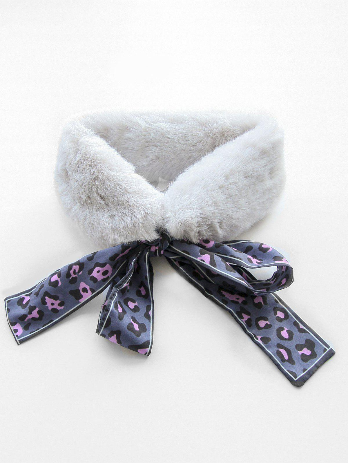 Latest Leopard Print Faux Fur Collar Scarf