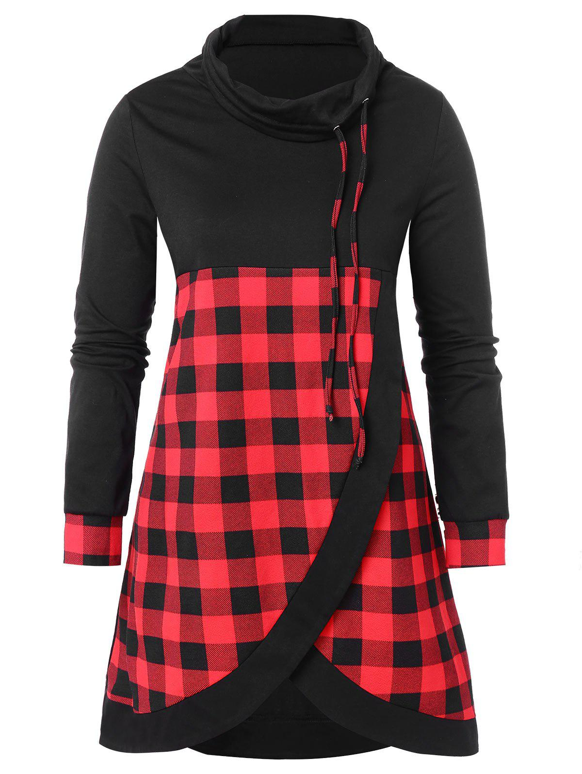 Outfit Drawstring Plus Size Plaid Panel Sweatshirt