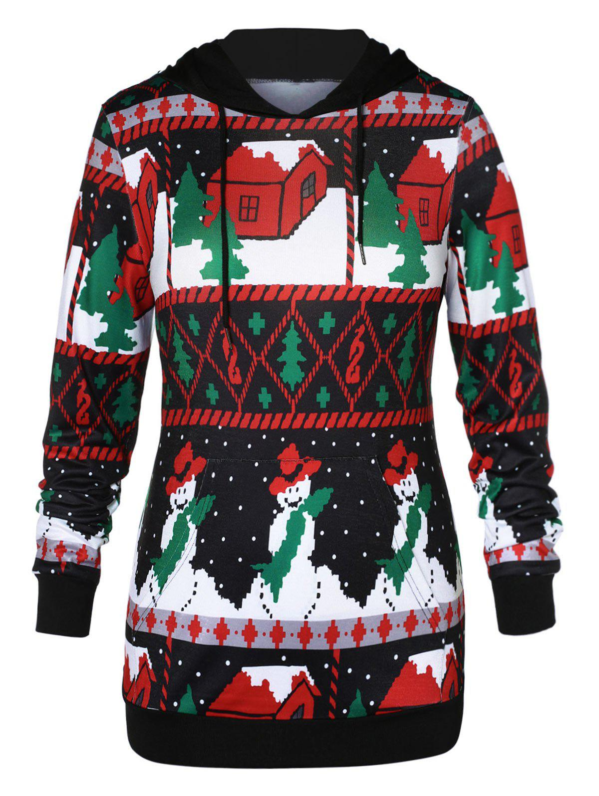 Trendy Plus Size Front Pocket Christmas Hoodie