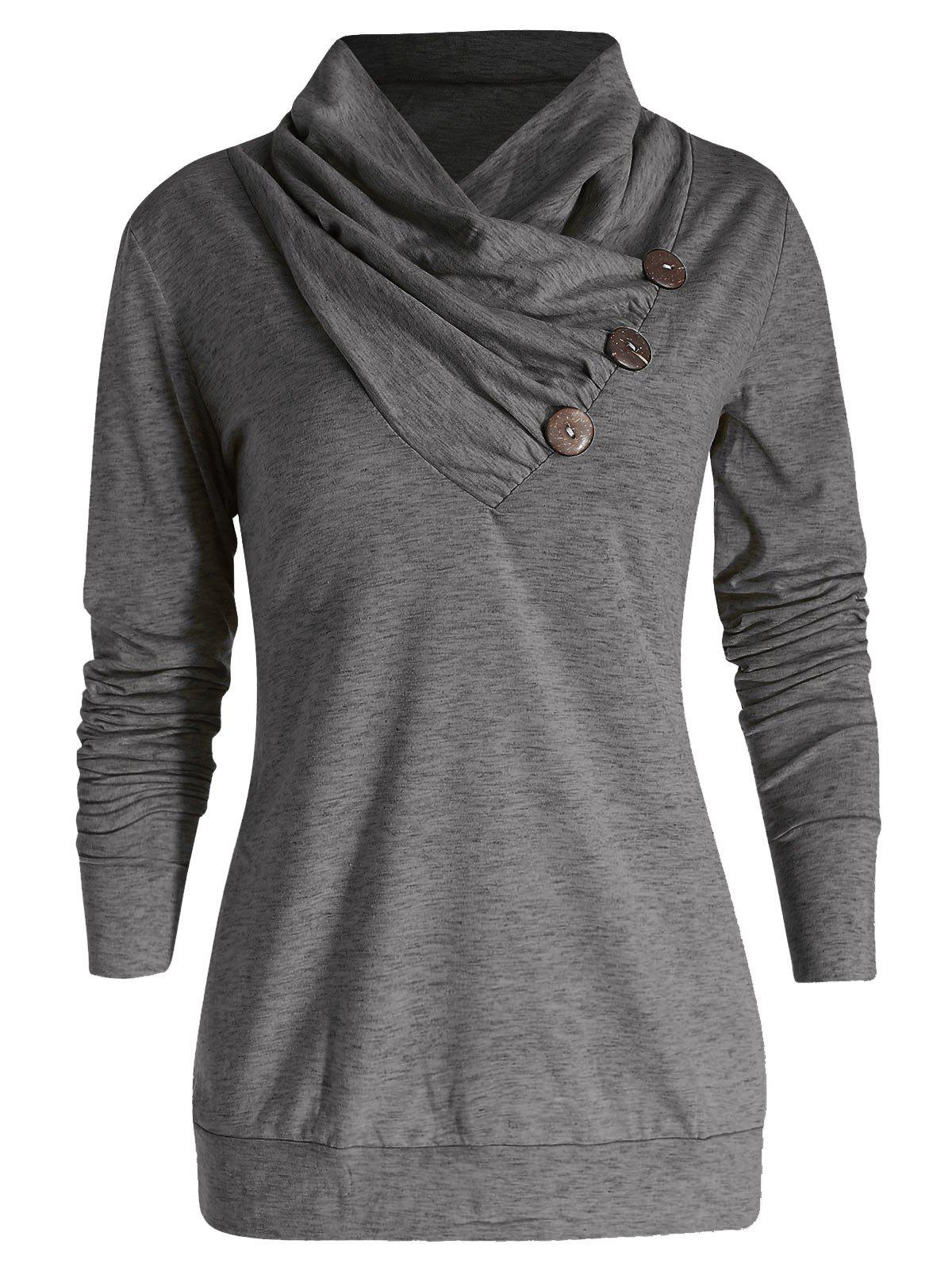 Best Cowl Neck Button Embellished T Shirt