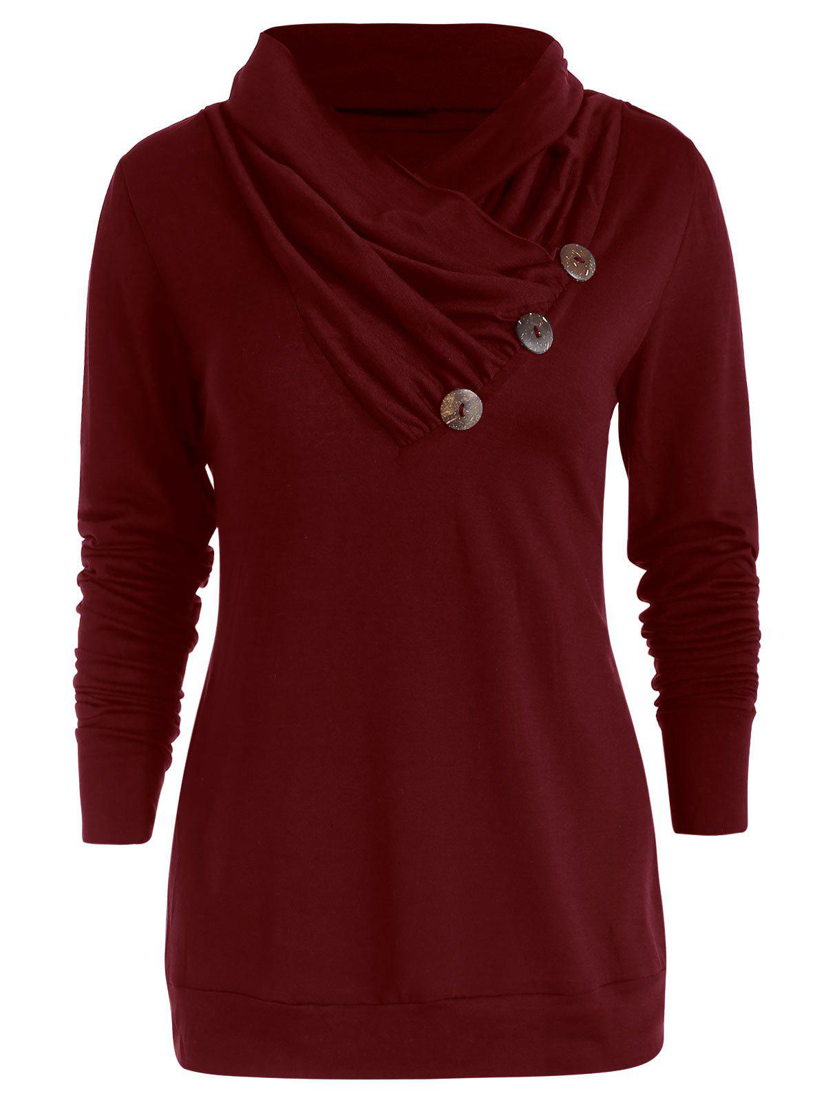 Affordable Cowl Neck Button Embellished T Shirt