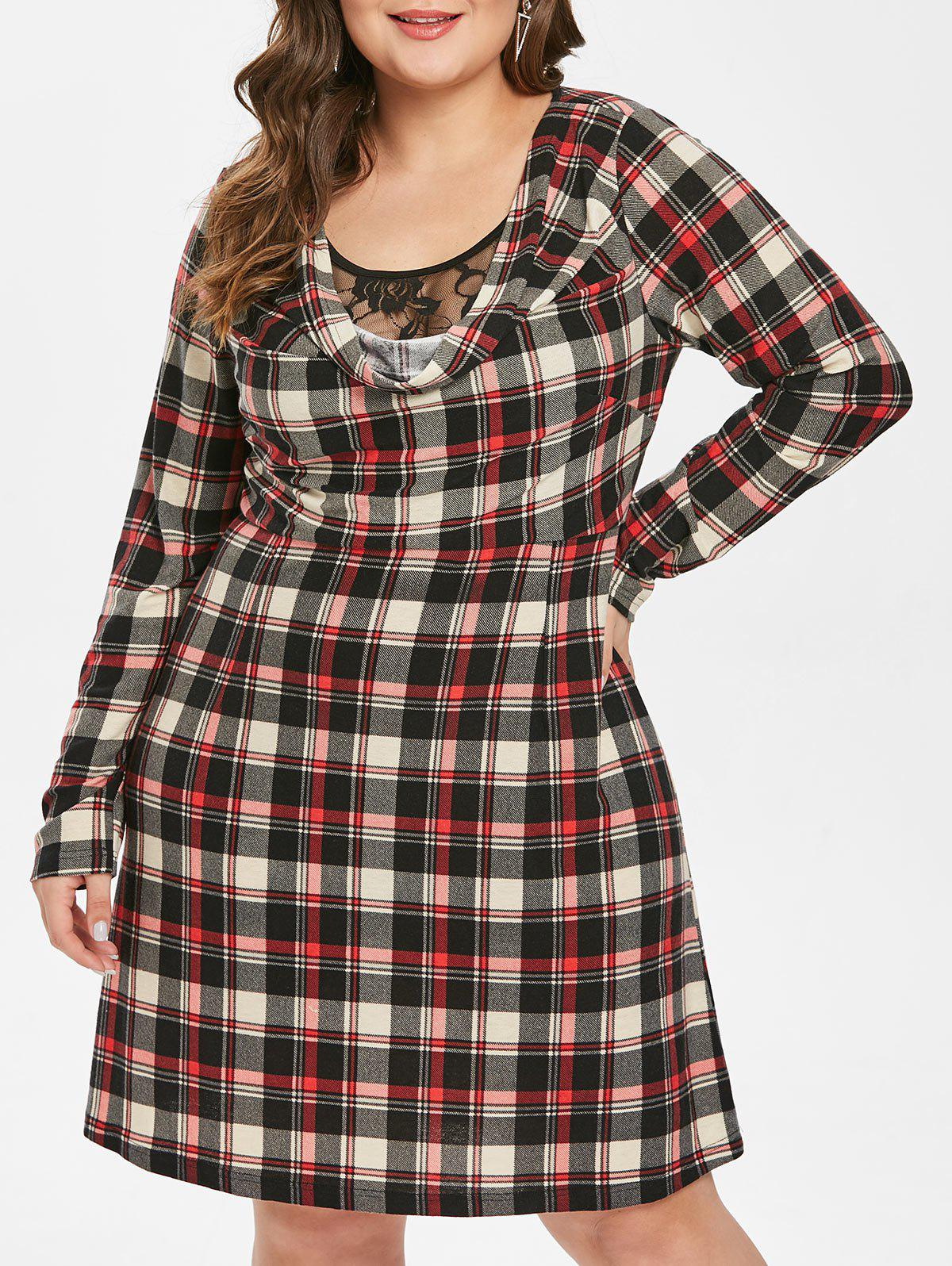New Plus Size Lace Insert Plaid Dress