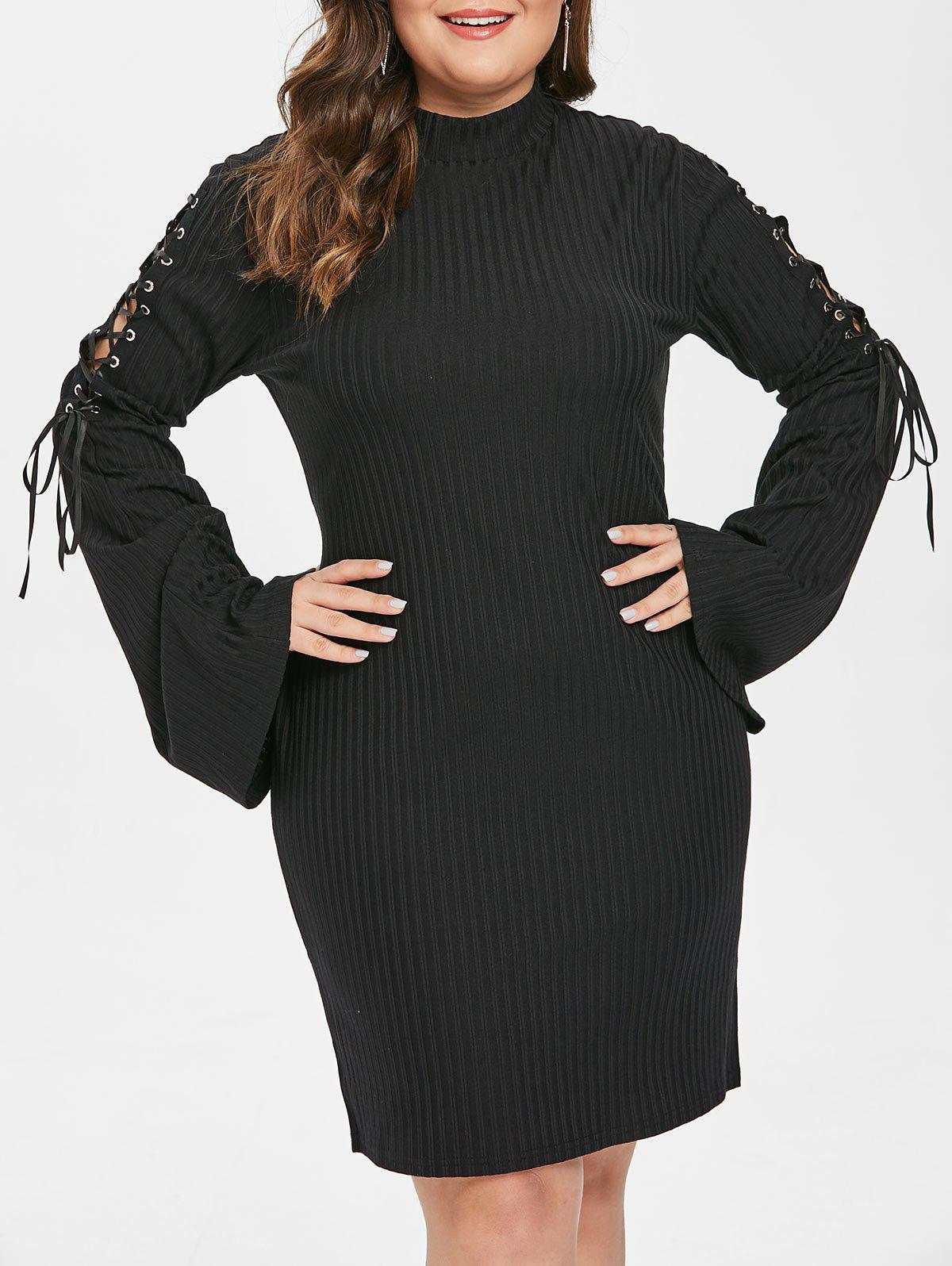 New Plus Size Lace Up Sleeve Bodycon Dress