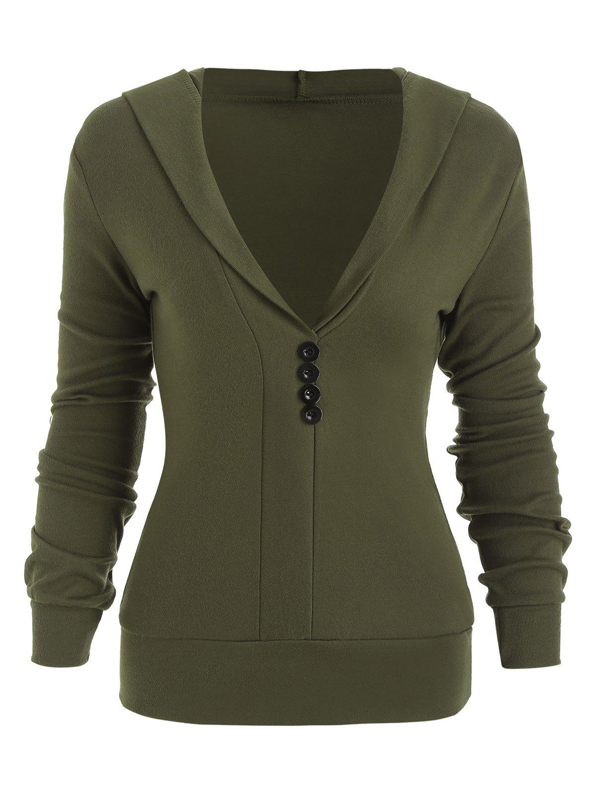 Trendy Hooded Button Long Sleeve Blouse