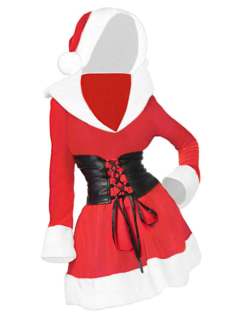 Discount Plus Size Contrast Hooded Christmas Dress