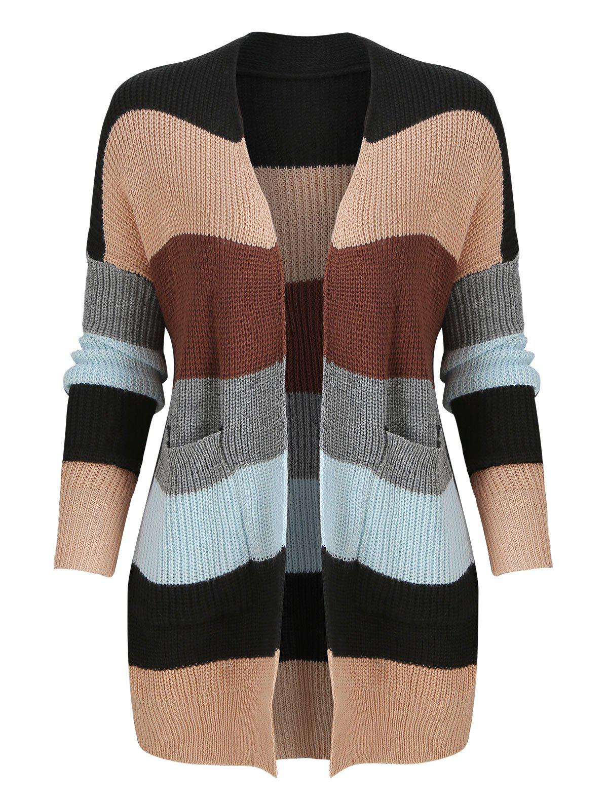 Sale Color Block Knitted Cardigan with Front Pockets