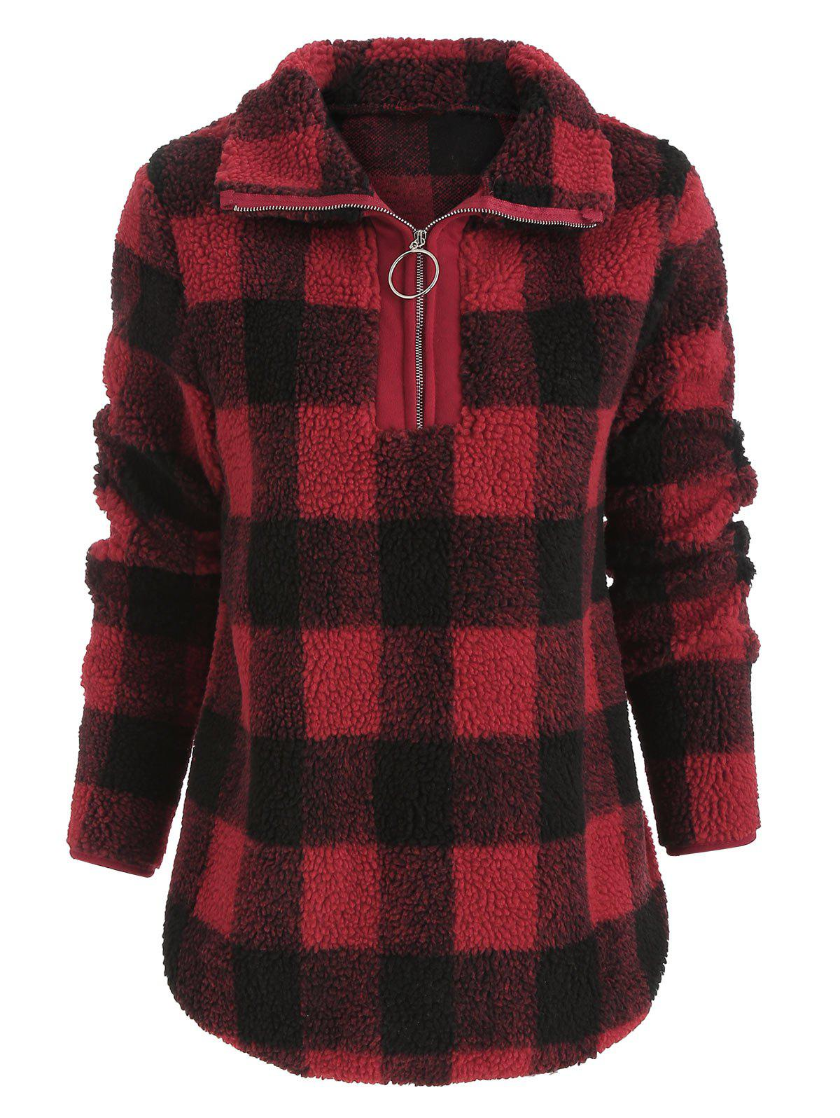 Outfit Faux Fluffy Half Zip Checked Sweatshirt