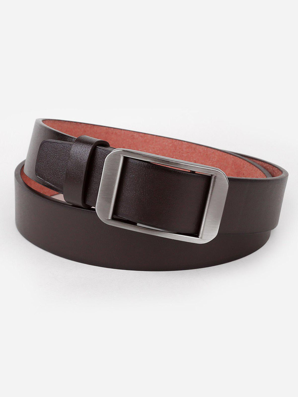 Affordable Silver Rectangle Buckle Faux Leather Belt