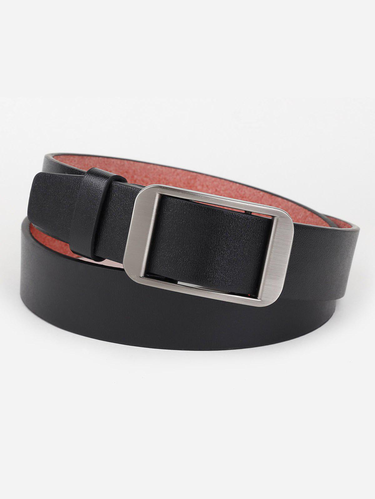 Cheap Silver Rectangle Buckle Faux Leather Belt