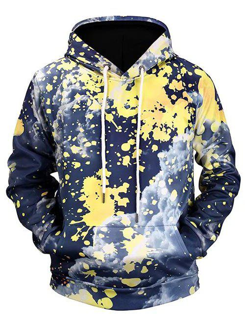 Sale Splatter Painting Cloud Print Pouch Pocket Pullover Hoodie