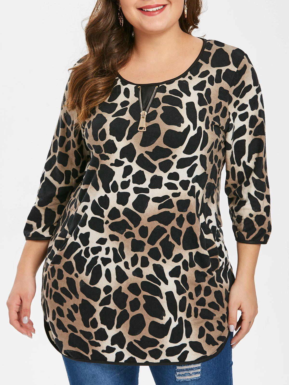 Fancy Plus Size Leopard Tee with Pockets