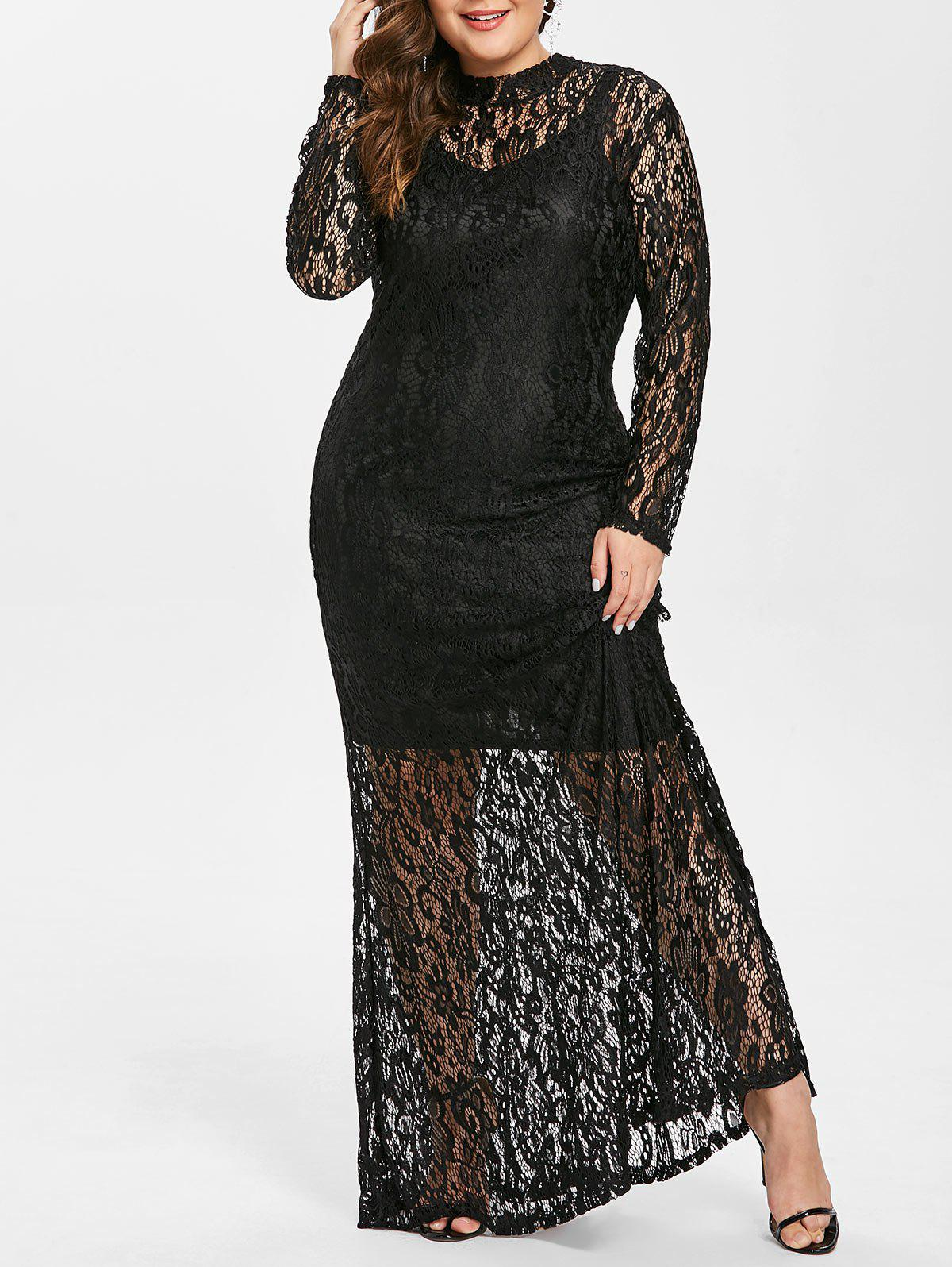 Store Mock Neck Plus Size Lace Longline Dress