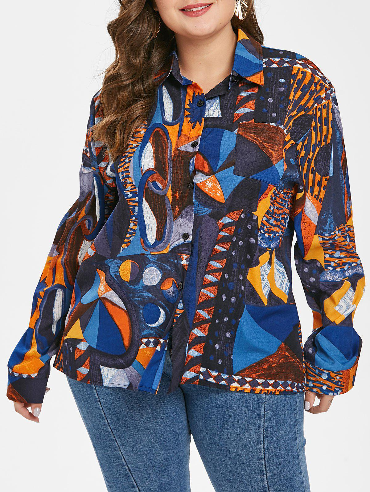 Trendy Plus Size One Pocket Graphic Shirt