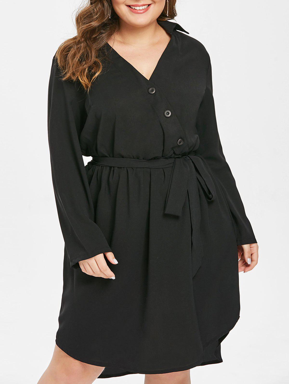 Outfit Button Detail Plus Size A Line Dress with Belt