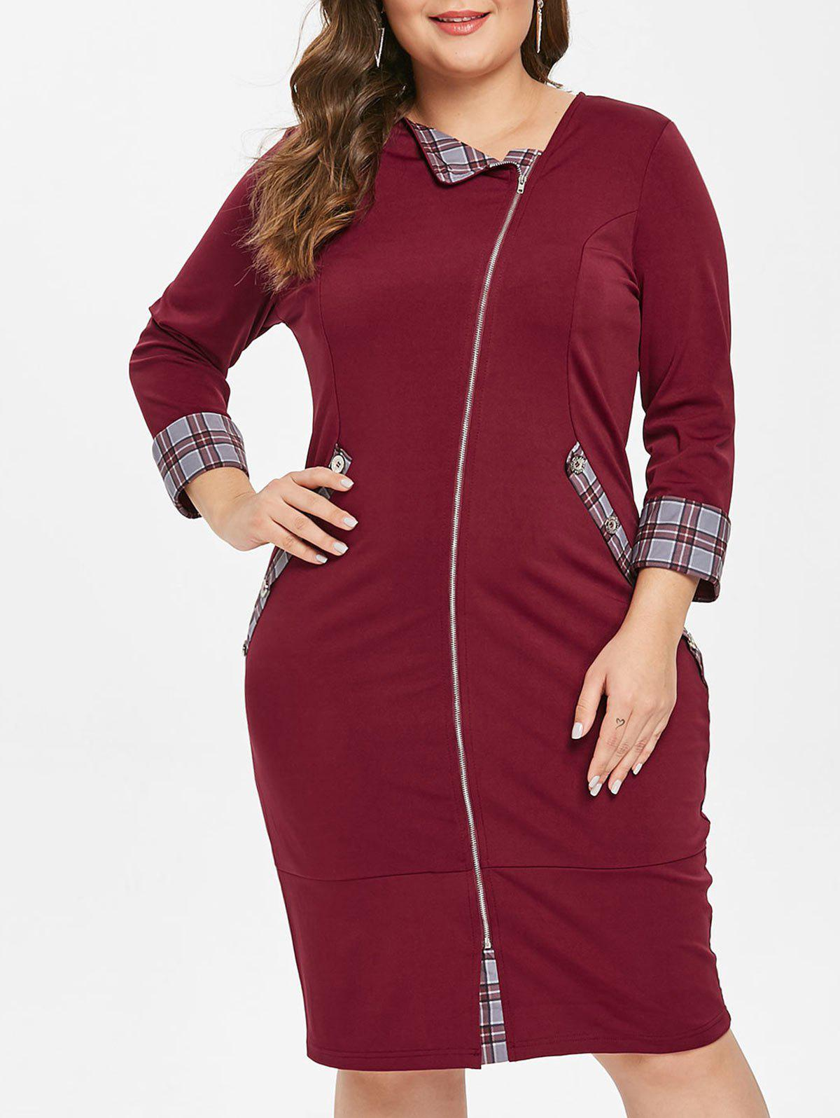 Affordable Plaid Panel Zip Embellished Plus Size Knee Length Dress