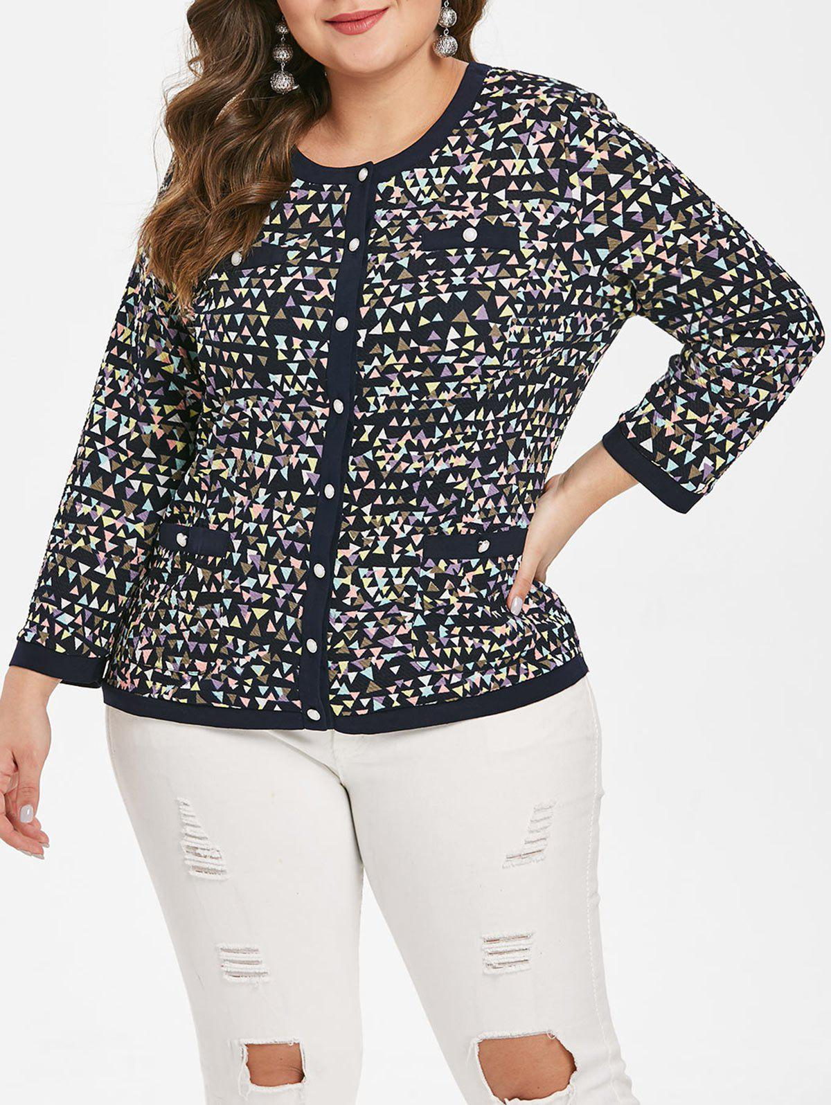 Best Plus Size Pockets Geometric Button Fly Jacket
