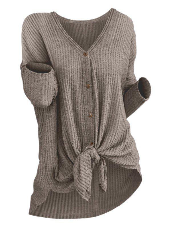 Fancy Knit Knotted Button Up Cardigan