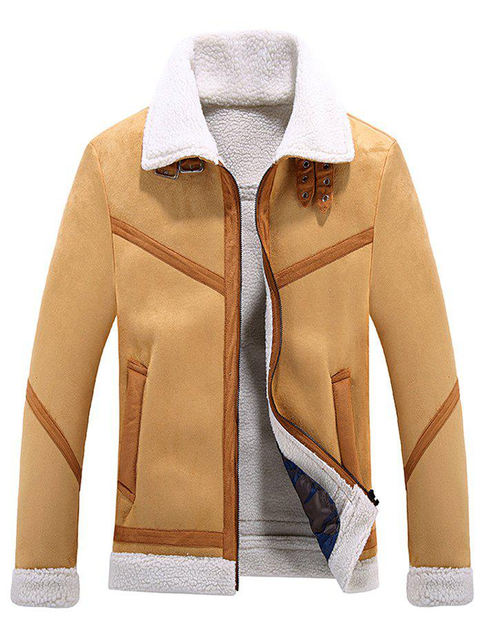Fancy Zipper Faux Fur Turn-down Collar Jacket