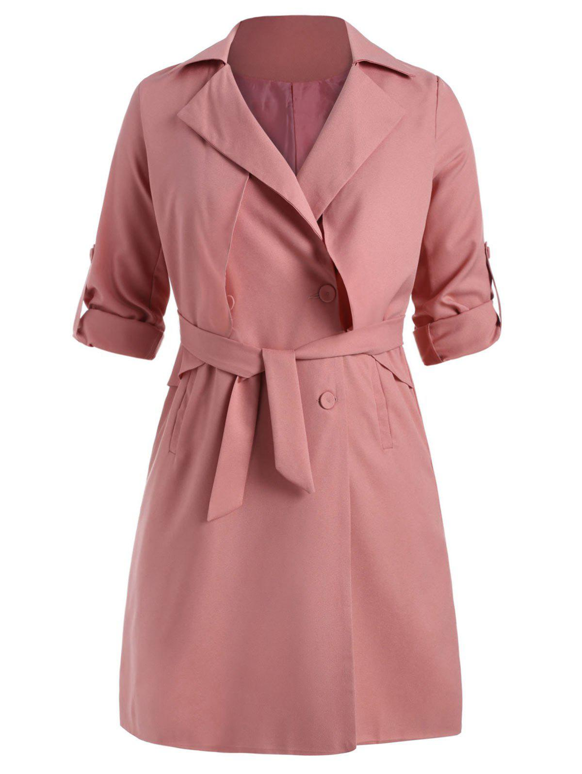 Chic Knee Length Plus Size Trench Coat with Belt