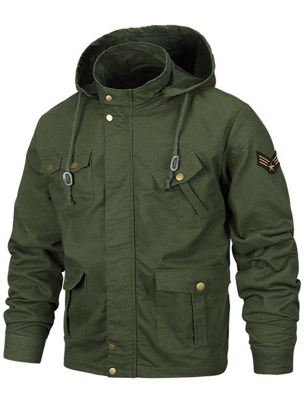 Outfit Multi Pocket Detachable Hooded Military Jacket