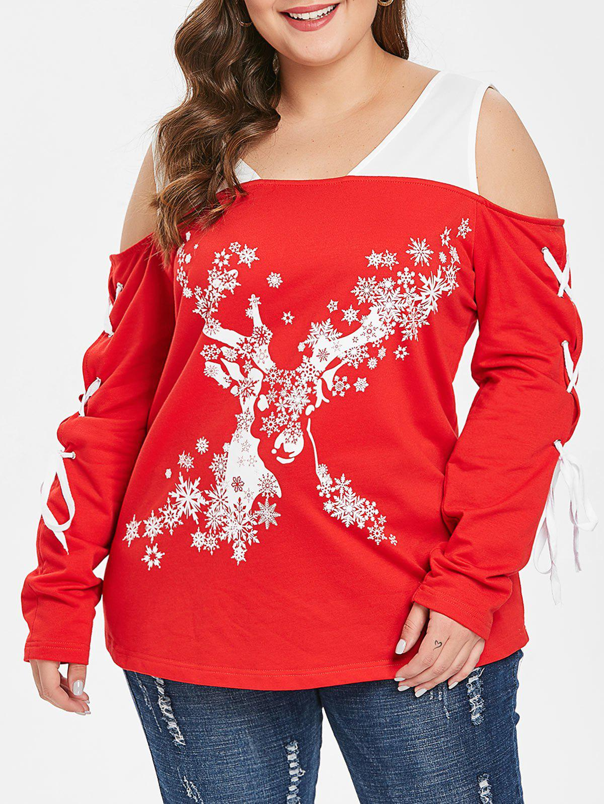 Best Christmas Snowflake Plus Size Lace Up T-shirt