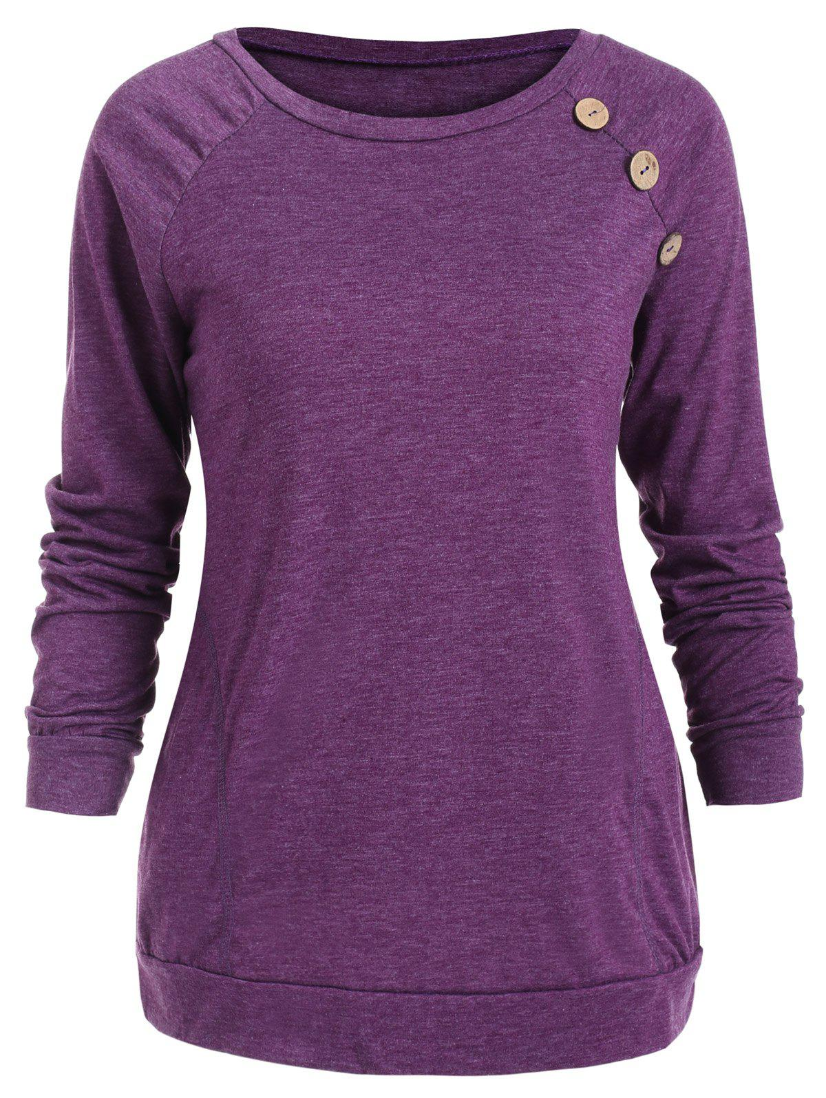 Fancy Buttons Embellished Long Sleeve T-shirt