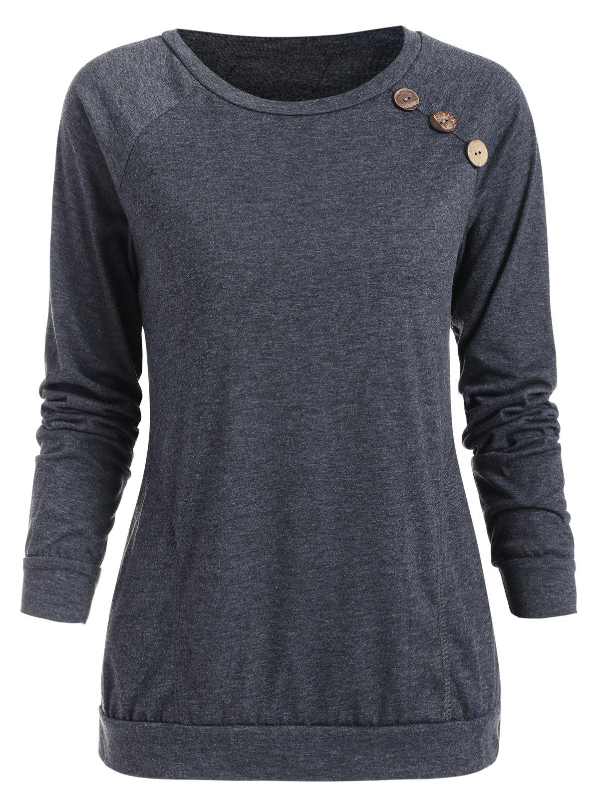 Outfit Buttons Embellished Long Sleeve T-shirt