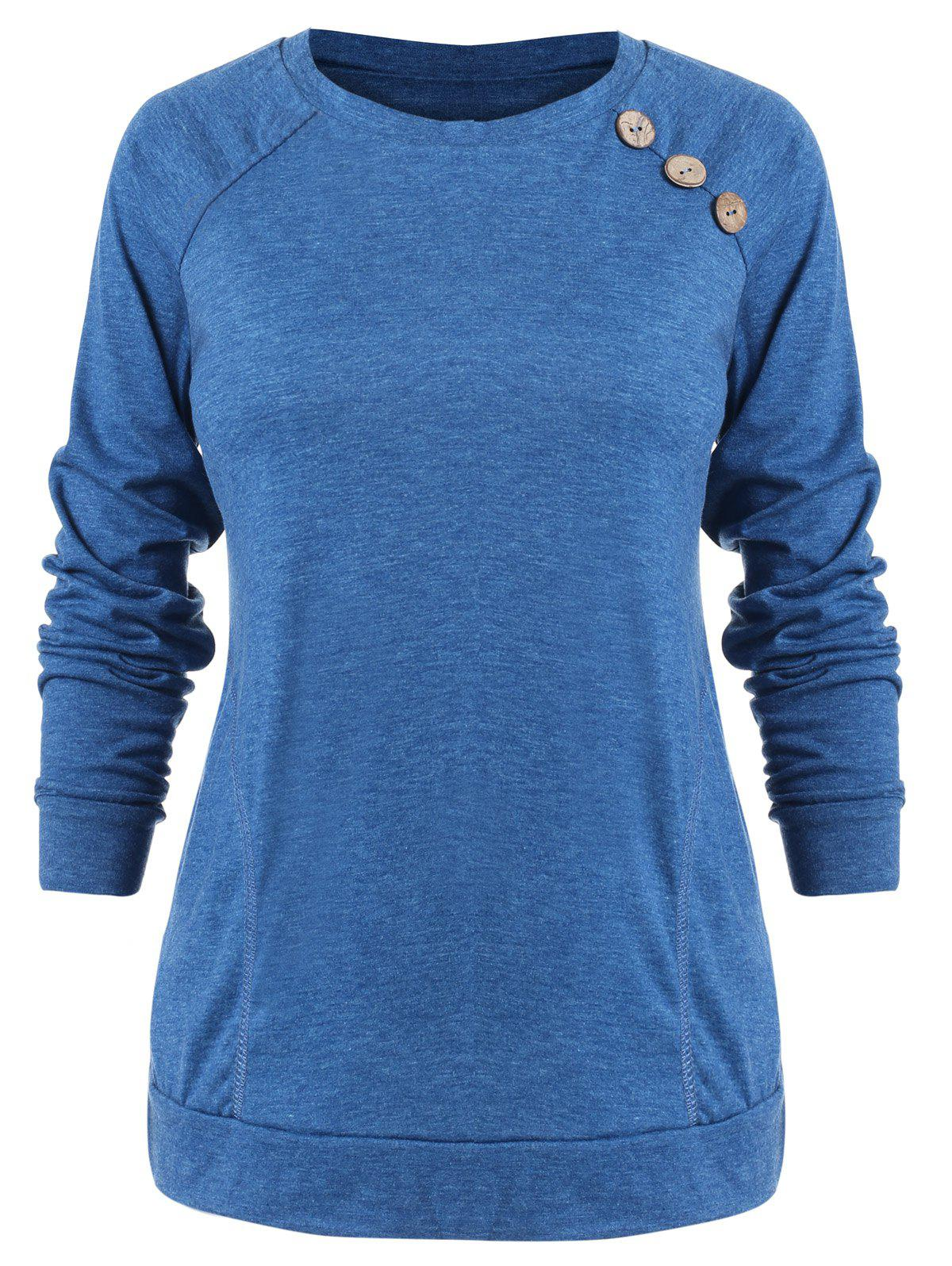 Discount Buttons Embellished Long Sleeve T-shirt