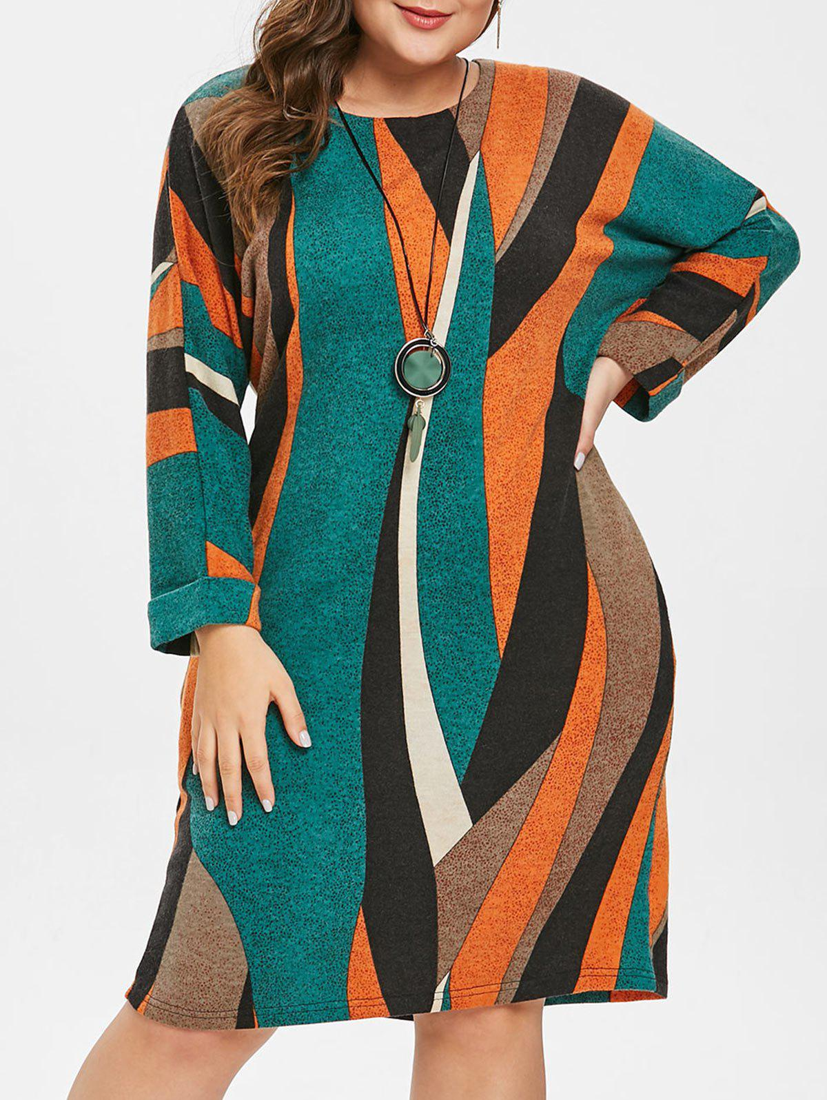 Unique Plus Size Long Sleeves Pockets Striped Knitted Dress