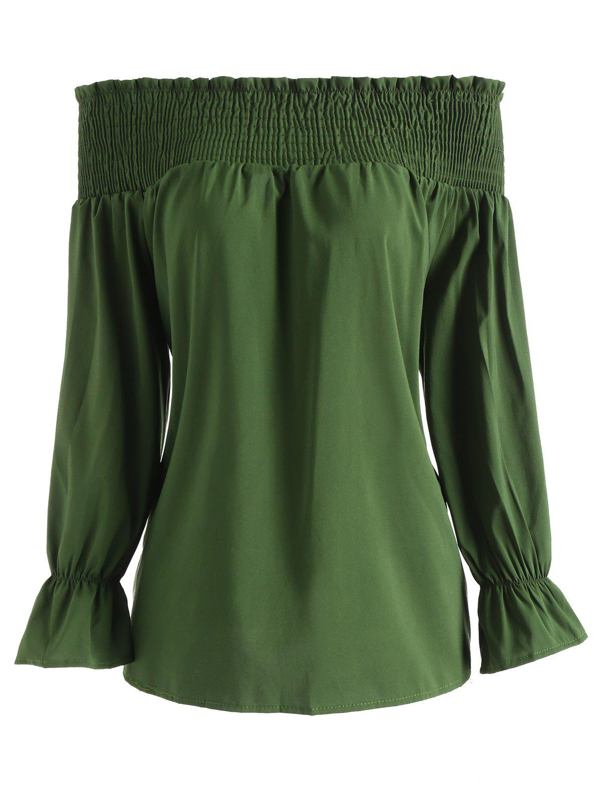 Chic Bow Off The Shoulder Smocked Blouse