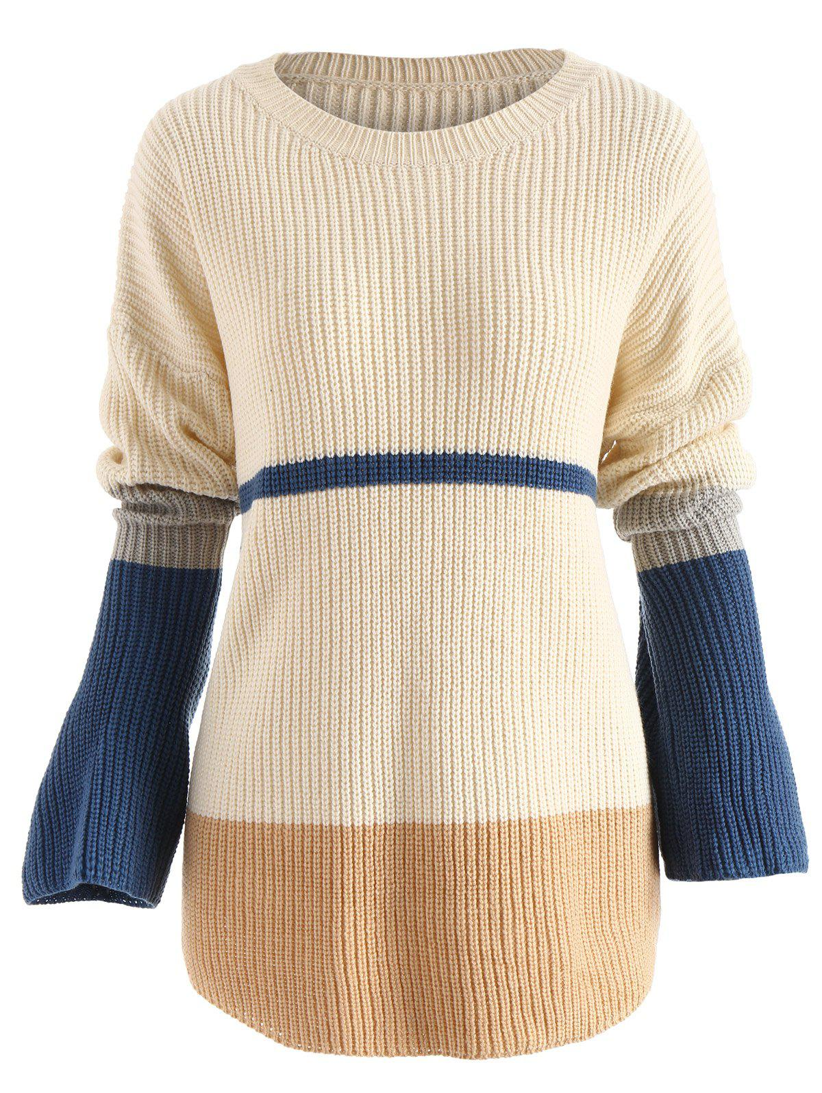 Outfits Round Neck Panel Pullover Sweater