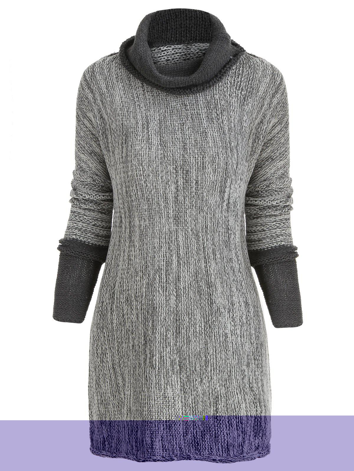 Best Contrast Cowl Neck Tunic Sweater