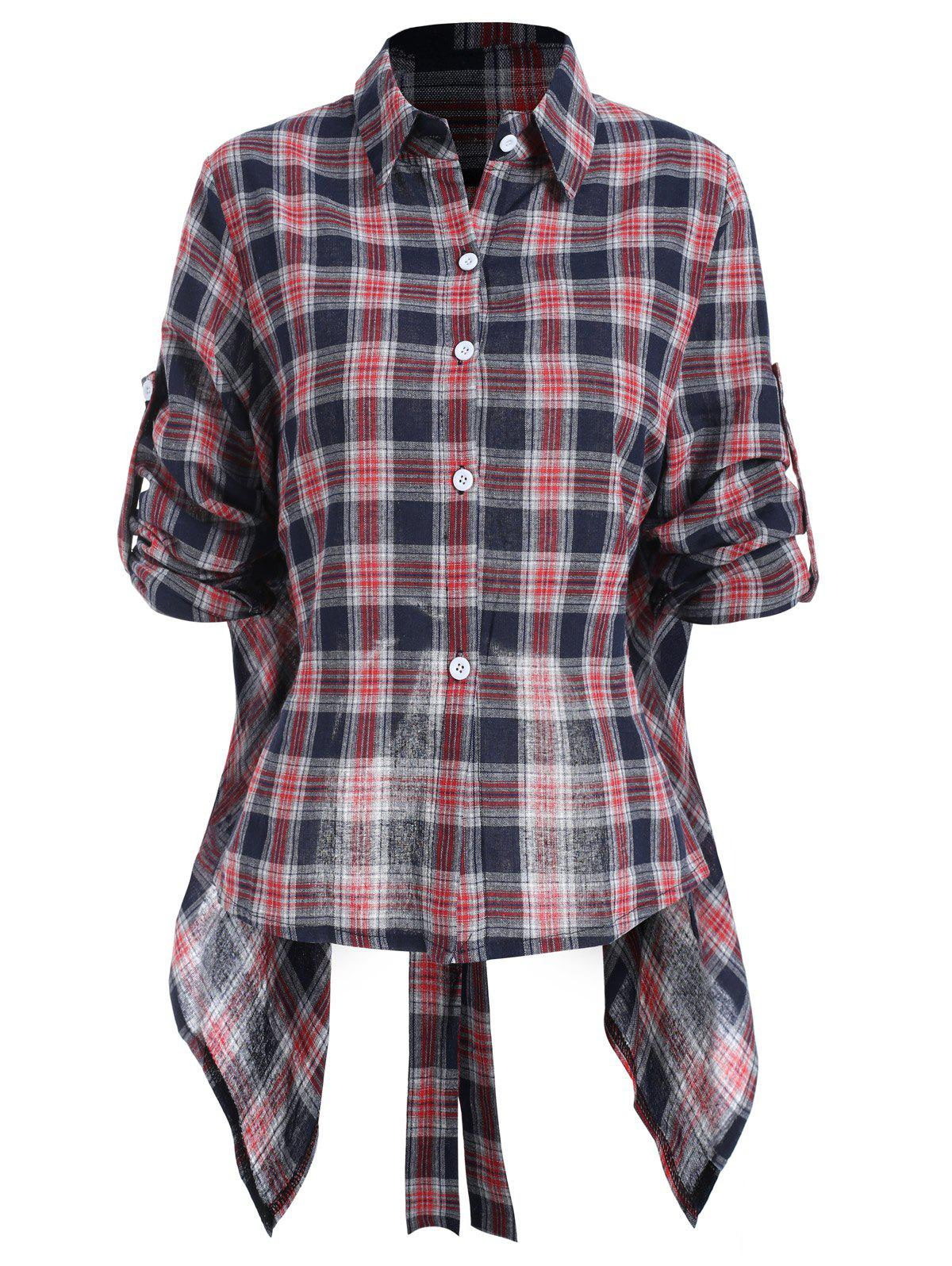Chic Plaid Tie Back Shirt