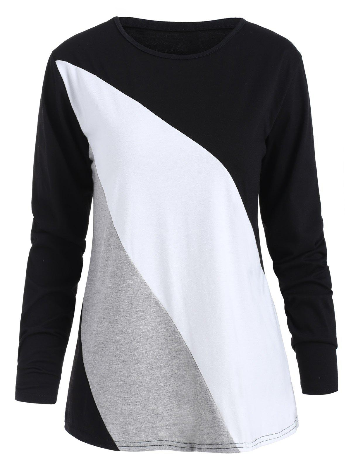 Discount Long Sleeves Color Block T-shirt