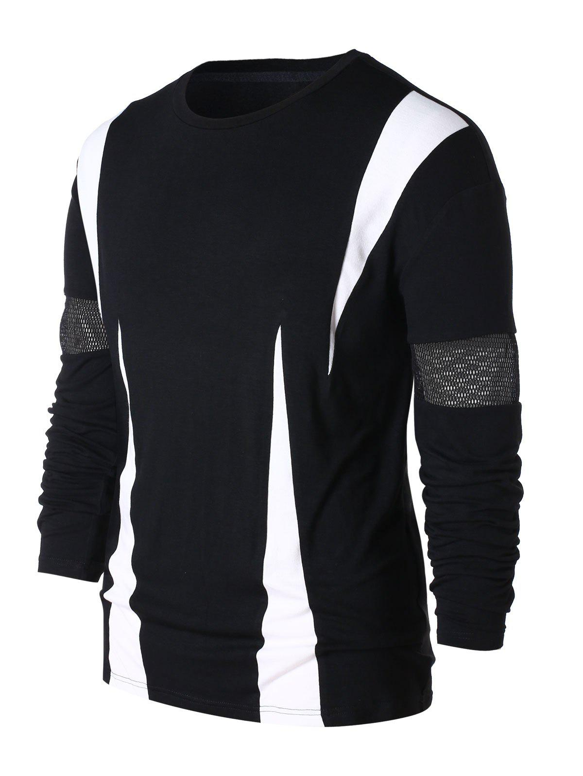 Outfits Mesh Panel Contrast Color T-shirt