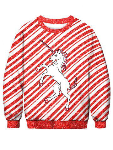Striped Horse Printed Pullover Sweatshirt - LAVA RED - XL