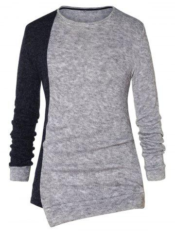 Asymmetric Color Block Pullover Sweater - CARBON GRAY - 2XL