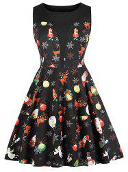 Round Neck Christmas Printed A Line Dress -