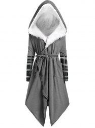Plus Size  Faux Fur Hooded Asymmetric Wrap Coat -