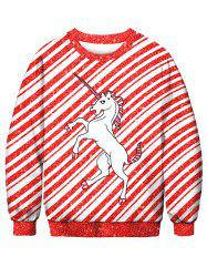 Striped Horse Printed Pullover Sweatshirt -