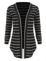 Open Front Panel Striped Cardigan -