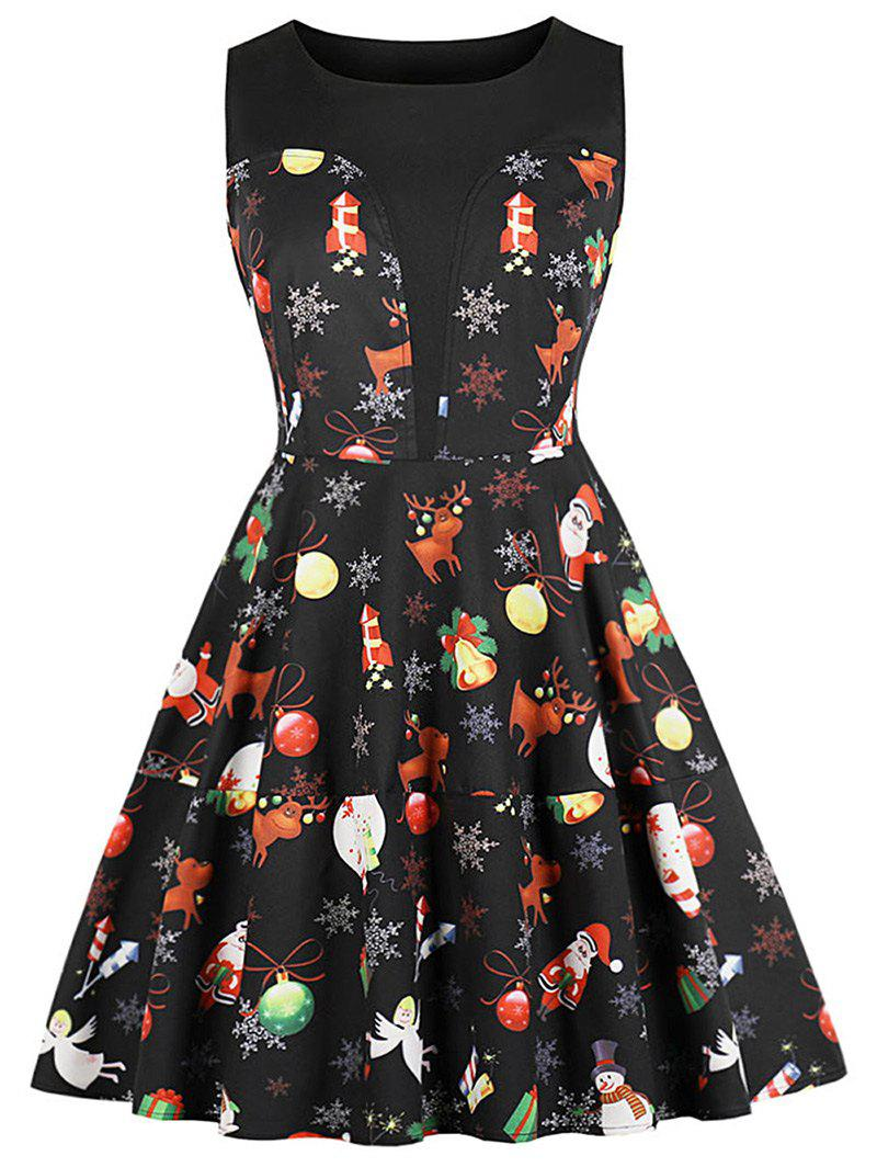 Latest Round Neck Christmas Printed A Line Dress