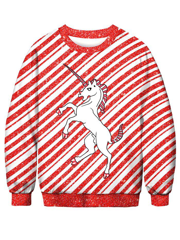 Best Striped Horse Printed Pullover Sweatshirt