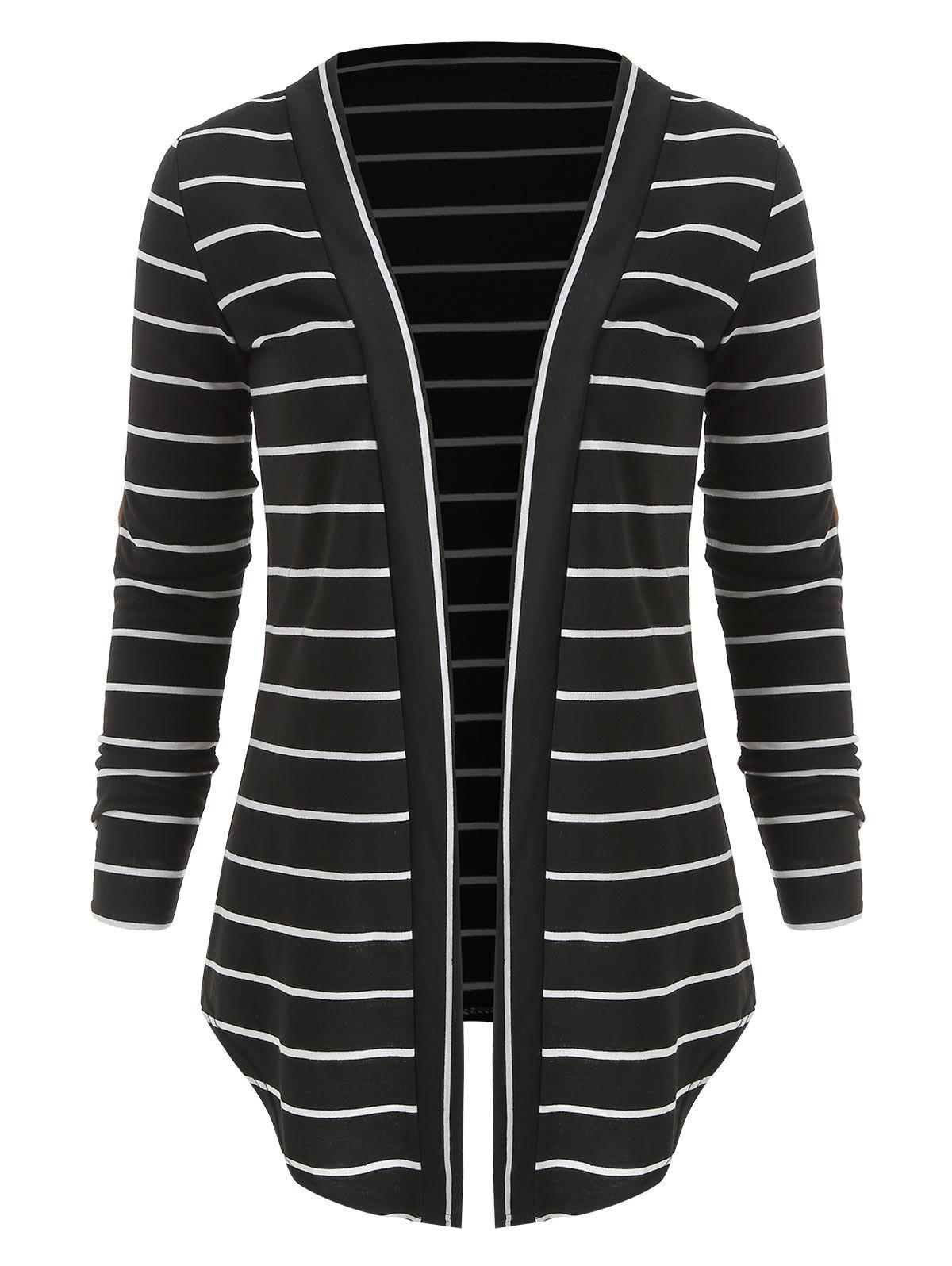 New Open Front Panel Striped Cardigan