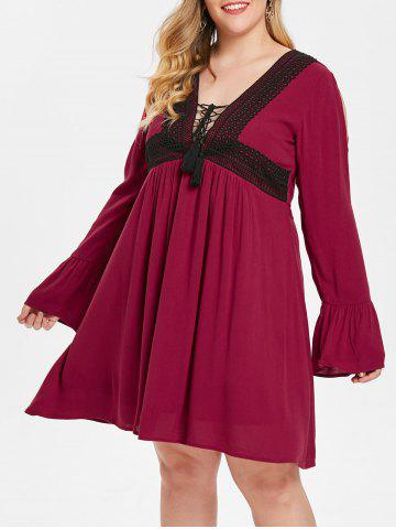 Plus Size Lace Up Two Tone Plunging Dress